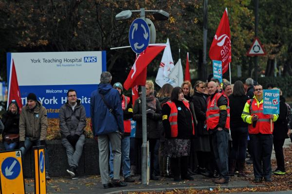 NHS workers on strike